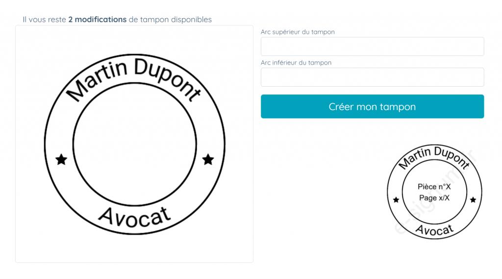 Tampon numérique ou e-tampon créé sur e-signum